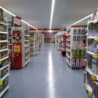 B&M Pwllheli's aisles before the first wave of customers arrive.