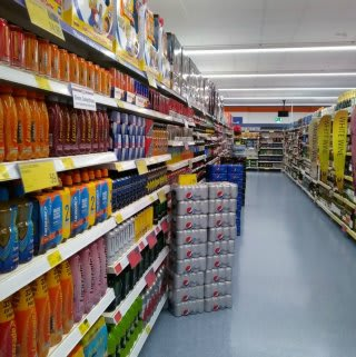 The alcohol aisle in B&M's new Bargain Store in Pwllheli, located on Lower Cardiff Road.