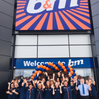 The store team at B&M's newest store in Lichfield pose in front of their wonderful new B&M Store, located on Eastern Avenue.