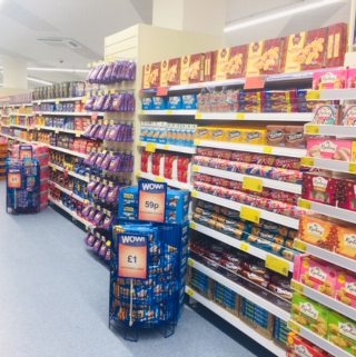 B&M's brand new store in Wolverhampton stocks a huge selection of everyday groceries, including biscuits and sweet snacks.