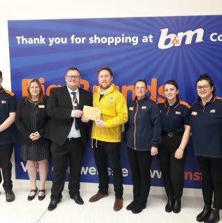 Store staff at B&M's new store in Cowdenbeath were delighted to welcome Kris Kennedy from local charity, from local charity Sense Scotland , the store's chosen charity for opening day. The charity received £250 worth of B&M vouchers in appreciation of their dedication and hard work in the community.