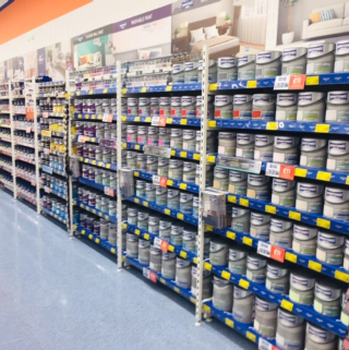 B&M's brand new store in Portsmouth stocks a huge paint range from the biggest brands like Dulux and Johnstone's.