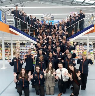 The store team at B&M's newest store in Brecon pose inside their wonderful new Home Store & Garden Centre, located at Brecon Enterprise Park.