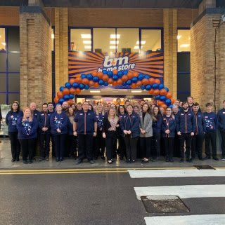 The store team at B&M's newest store in Llanishen pose in front of their wonderful new Home Store & Garden Centre, located on Ashbourn Way.