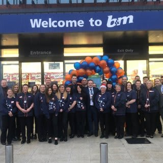 The store team at B&M's newest store in Ipswich pose in front of their wonderful new Home Store & Garden Centre, located on Northumberland Retail Park.