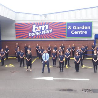 The store team at B&M's newest store in Kidderminster (Spennells) pose in front of their wonderful new Home Store & Garden Centre, located located out of town at Kidderminster Industrial Estate, Spennells Valley Road.
