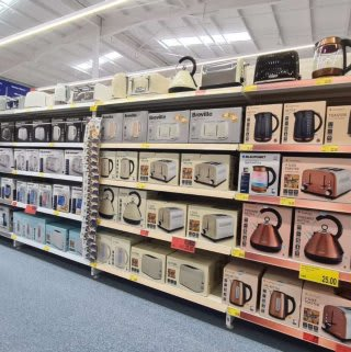B&M's brand new store in Doncaster stocks a great range of electrical items for the home, including TVs, Bluetooth speakers, toasters, irons and much more.