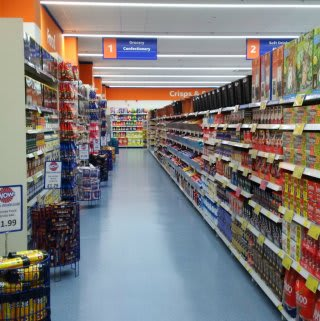 A first glimpse down one of the aisle in the new B&M Broomhall store.
