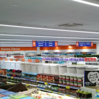 Inside B&M Broomhall before its first customers arrive on opening day.