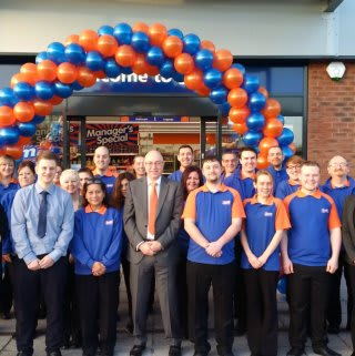 B&M staff pose outside their brand new store in Broomhall, located on Bath Road.
