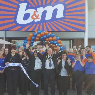 Mayor Councillor David Brown and local charity Friends For Leisure were B&M's special guests at the opening of its new Congleton store.