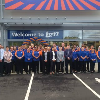The store team pose outside their brand new B&M Strood store located on Commercial Road.