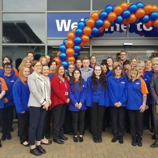 B&M Daventry's store team pose outside their new store at Abbey Retail Park.