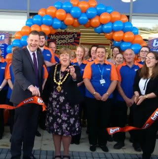 Local Mayor Margaret Young was B&M's special guest on opening day, cutting the ribbon at its new store at Launceston Retail Park.