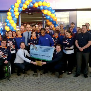 Michael Clarke from local charity Little Miracles was B&M Ortongate's VIP guest on opening day. He accepted £250 worth of B&M vouchers on behalf of the charity which had been donated by store staff.