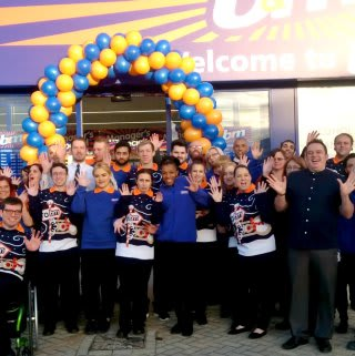 B&M Ortongate's store team can't contain their excitement as they welcome their first shoppers.