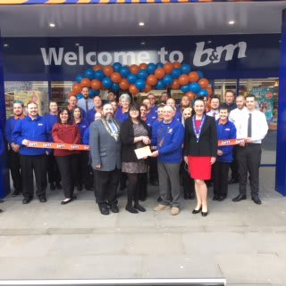 B&M Lowestoft's VIP guests for the day were Lowestoft Lions who fundraised throughout the day. Representative from the charity Derek Ward received £250 worth of B&M vouchers as a thank you for opening the store.