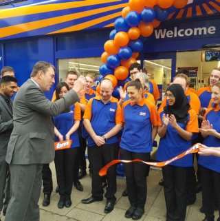 Local Deputy Mayor Councillor George Cutting was on hand to cut the ribbon at B&M's brand new store in Bishop's Stortford.