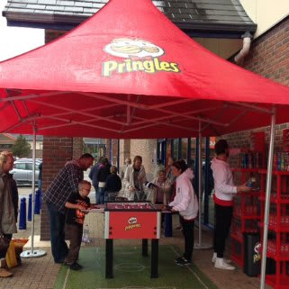 B&M Stores Aberystwyth store opening. Pringles promo.