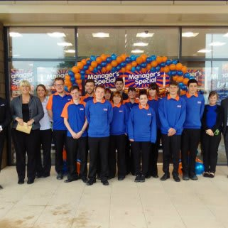 Staff at the new B&M Bargains store in Gunness pose at the store opening.