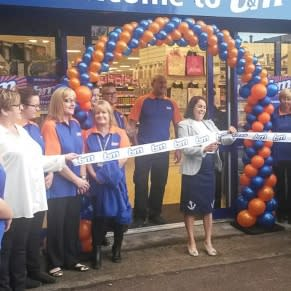 Hemsworth store being opened by the representatives from the 'Laila Milly Foundation'. This was the local charity selected by the store who received £250 worth of shopping vouchers.