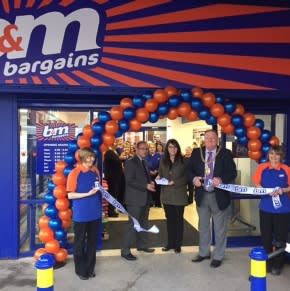 Our Wigton Road store being opened by the town's Mayor Steve Layden and our local Eden Valley Hospice charity representative Natalie Bingham who gratefully received £250 worth of B&M vouchers to help support their cause.