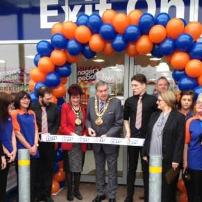 B&M Roker being formally opened by the Mayor of Sunderland Barry Curran and a representative from Grace House who has gratefully received £250 worth of B&M vouchers