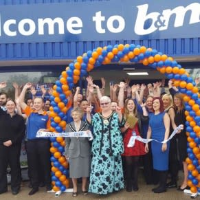 B&M Ellesmere Port being officially opened by the local Mayor, Councillor Lynn Clare MBE and the Mayoress Mrs Bateman along with representatives from the Claire House Hospice