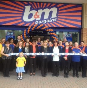 B&M Tyldesley being formally opened by local charity Child Flight - 7 year old Morgan Kay Wright opened the store on behalf of this charity, who also gratefully received £250 worth of B&M vouchers.