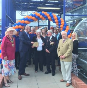 Store manager James Mactavish is PROUD to handover £250 worth of B&M vouchers to representatives from Royal British Legion who officially opened the store. Mayor, Councillor Tessa Bates also accepted an invitation to cut the ribbon on a landmark day.