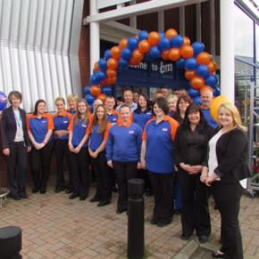 Store staff stand proudly outside the brand new B&M Home Store & Garden Centre in Lanark.