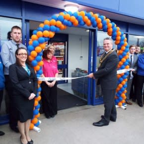 B&M's Somercotes store being opened by the Mayor and Mayoress of the Borough of Amber Valley, Councillor Trevor Ainsworth and Mrs Jennifer Ainsworth