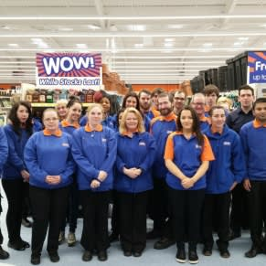 Swinton staff pose inside their new B&M Home Store & Garden Centre on opening day.