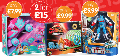Save on 2 for £15 Toys at B&M.