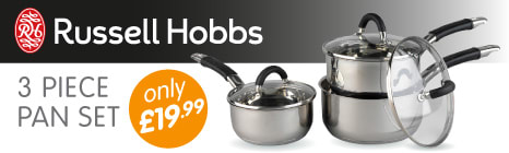 Russell Hobbs 3 Piece Pan Set only £19.99 at B&M Stores.