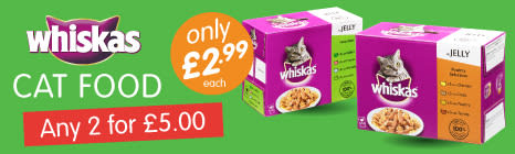Whiskas Cat Food. Buy any 2 for £5.00.