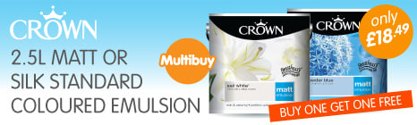 Crown 2.5ltr Matt or Silk Standard Coloured Emulsion BUY ONE GET ONE FREE. Only £18.49. Offer Ends 26th November.