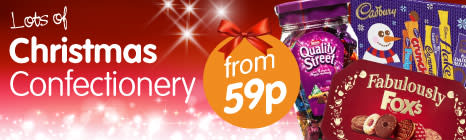 All Christmas Confectionery family favourites available from B&M Stores at low prices.