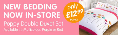 New Bedding Now In-Store at B&M. Poppy Double Duvet Set only £12.99.