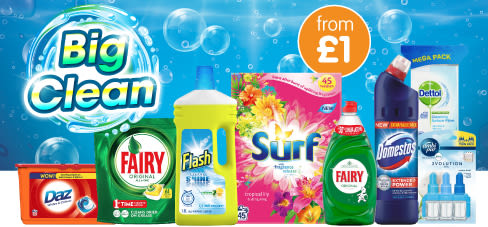 Save on big brands in our big clean event at B&M.