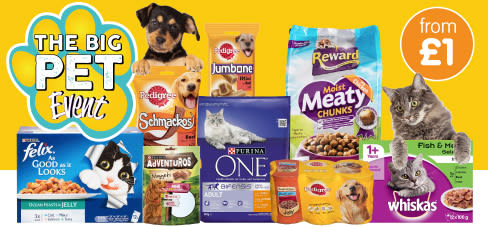 Save on pet food, treats and toys at B&M.