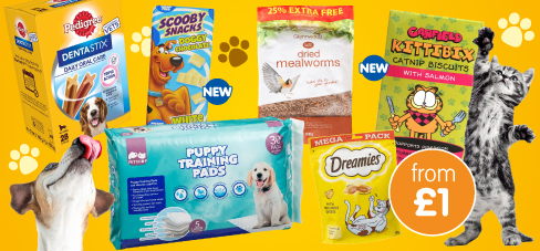 Save on big brands in the pet event at B&M.