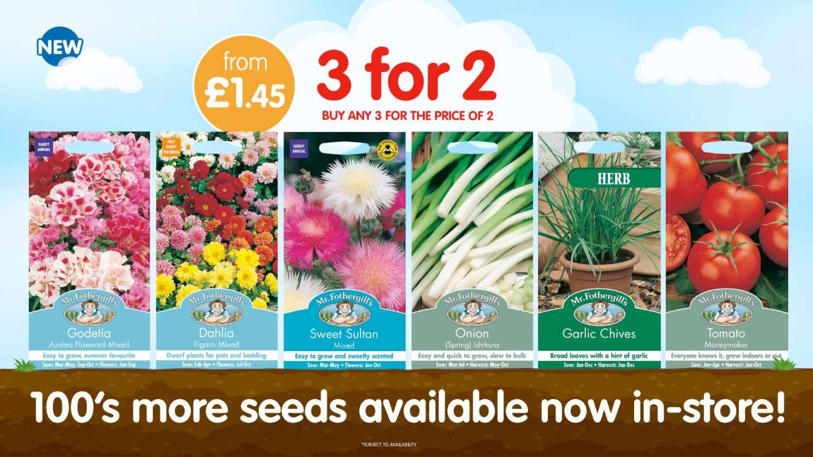 100's of garden seeds available in store at B&M.