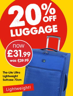 210% off lugagge at B&M.