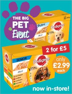 Save on all your Pet Essentials in the B&M Big Pet Event - like Pedigree dog food and much more.