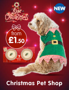 Save in the Christmas Pet Shop at B&M.