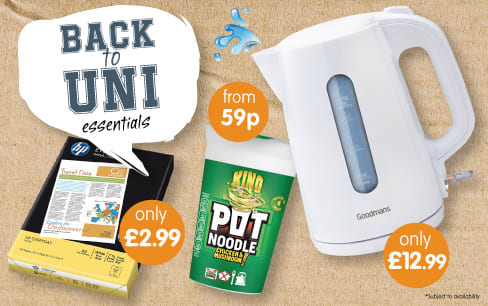 Save on Back to Uni Essentials at B&M.