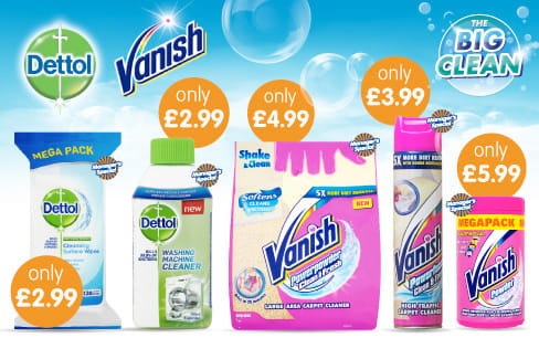 Save on Dettol and Vanish in the Big Clean at B&M.