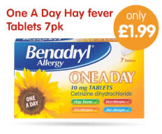 Save on Hay fever tablets at B&M.