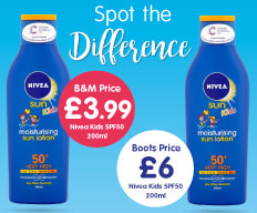 Save on Kids Nivea Sun Cream at B&M.